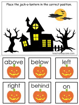 Halloween themed Positional Game.  Printable Preschool Cur