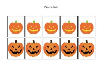 Halloween themed Pumpkin Pattern Cards printable preschool learning game.