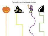 Halloween themed Scissor Cutting Practice printable preschool learning game.