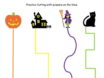 Halloween themed Scissor Cutting Practice printable presch