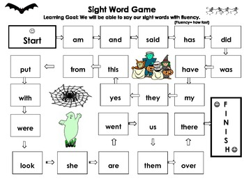 Halloween themed Sight Word Game