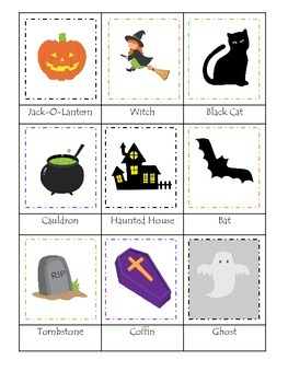 Halloween themed Three Part Matching printable preschool children game.
