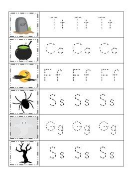 Halloween themed Trace the Beginning Letter printable preschool worksheets.