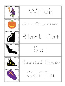 Halloween themed Trace the Word printable preschool worksheets. Daycare Curricul