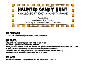 Halloween-themed WH-Question game for Speech Therapy -- Haunted Candy Hunt