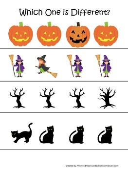 Halloween themed Which One is Different printable preschool learning game.