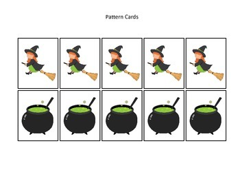Halloween themed Witch Pattern Cards #2 printable preschool learning game.