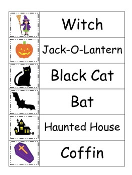 Halloween themed Word Wall theme for Daycare Teachers.  Pr