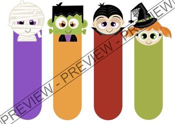 Halloween themed bookmarks (in Spanish and blank) - Marcapáginas de Halloween