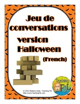 Halloween themed conversation starters - Jenga®-style French game