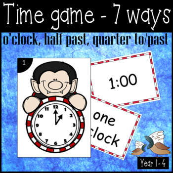 Halloween time matching and scoot game for analogue clock digital and words