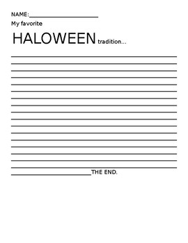 Halloween traditions writing assignment