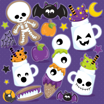Halloween treats clipart commercial use, graphics, digital  - CL1184