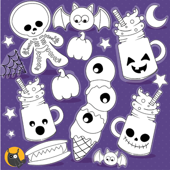 Halloween treats stamps commercial use, vector graphics, images  - DS1184