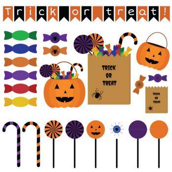 Halloween trick or treat clipart set
