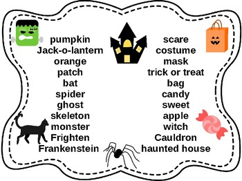 File folder Halloween vocab for writing centers!