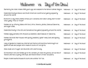 Halloween vs Day of the Dead Worksheet