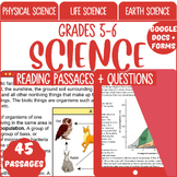 Science Reading Comprehension Passages & Questions Grade 5-6 (Digital)