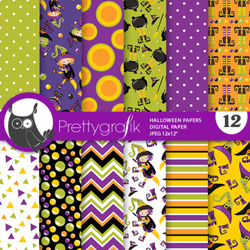 Halloween witch papers, commercial use, scrapbook papers - PS815