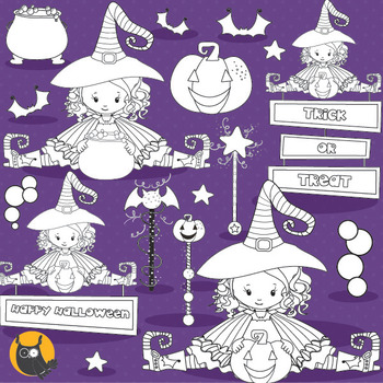 Halloween witch stamps commercial use, vector graphics, images  - DS1003