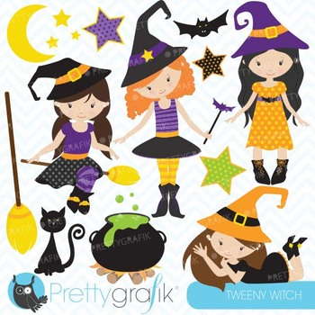 Halloween witches clipart commercial use, vector graphics - CL551