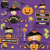 Halloween witches clipart commercial use, vector graphics, digital  - CL1003