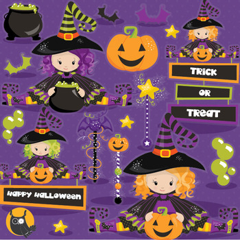 Halloween witches clipart commercial use, vector graphics,