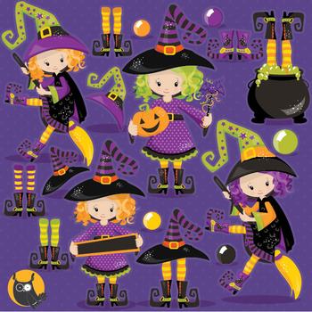 Halloween witches clipart commercial use, vector graphics, digital  - CL1004