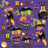 Halloween witches clipart commercial use, vector graphics, digital  - CL1014