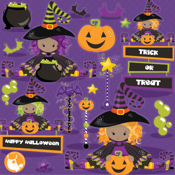 Halloween witches clipart commercial use, vector graphics, digital  - CL1015