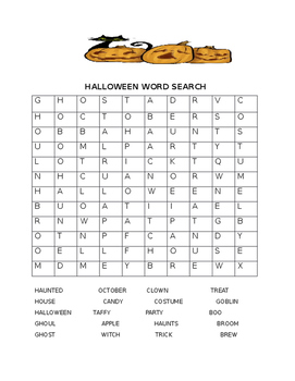 Halloween word search and scramble in English and Spanish