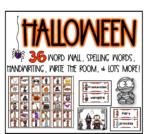 Halloween word wall, write the room, spelling, & handwriting