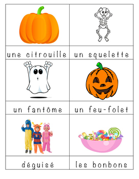 Halloween word work/french conversation center