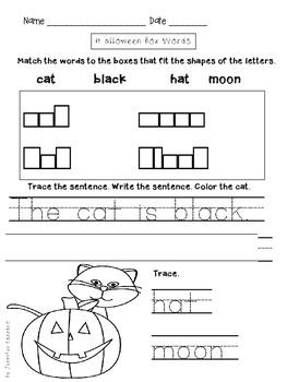Halloween worksheet BOX WORDS