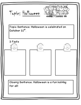 Halloween writing graphic organizer