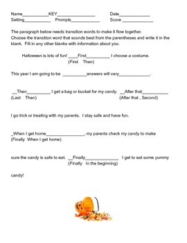 Halloween writing transition words