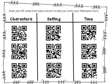 Halloween writing with QR codes