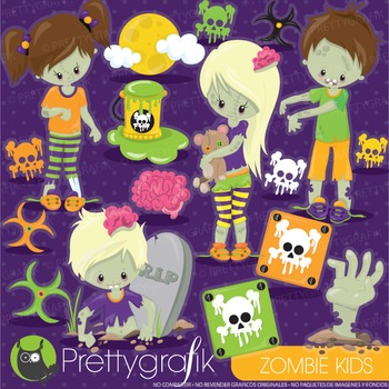 Halloween zombie clipart commercial use, graphics, digital clip art - CL916