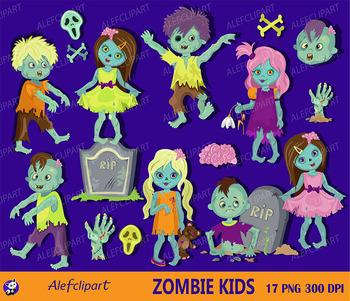 Halloween zombie kids clipart commercial use, zombie digital clip art.