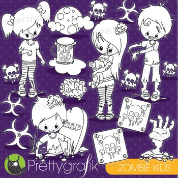 Halloween zombie stamps commercial use, vector graphics, images - DS916