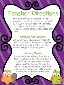 Halloween Making 10 Math Center
