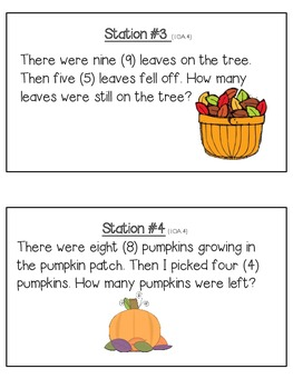 Halloween/Fall Subtraction Story Problems