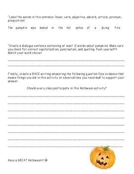 Halloween/Pumpkin Project-ELA and Math