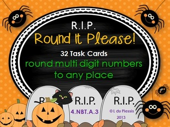 HalloweenRounding to Any Place Task Cards