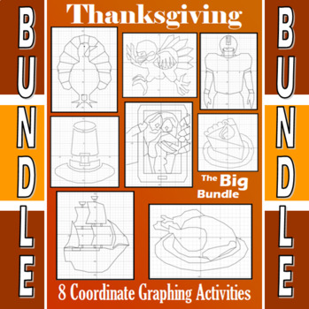 Fall / H'ween / Thxgiving - Crossover-Bundle - 31 Coordinate Graphing Activities