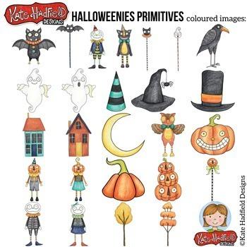 "Halloween Folk Art Clip Art: ""Halloweenies Primitives"""