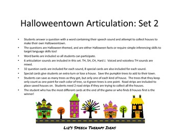 Halloweentown Articulation Inferences Set 2: TH, SH, CH and J