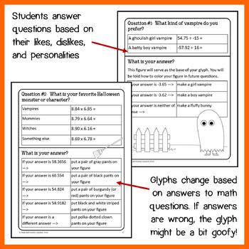 Halloween Math Goofy Glyph (7th grade Common Core)