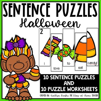 Sentence Building Puzzles and Worksheets for Halloween