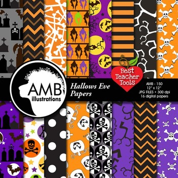 Halloween Digital papers and backgrounds, Hallows eve scrapbook papers, AMB-150